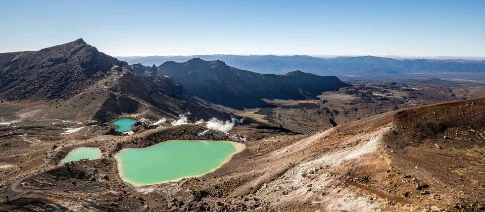 Tongariro Crossing from Red Crater showing the Emerald Lakes below.