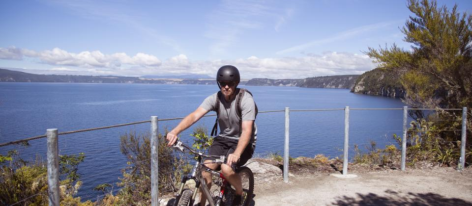 Riding the Waihora section of the Great Lake Trail