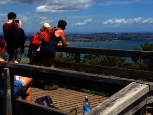 Enjoy the view of the Auckland harbour from the summit of Rangitoto Island.