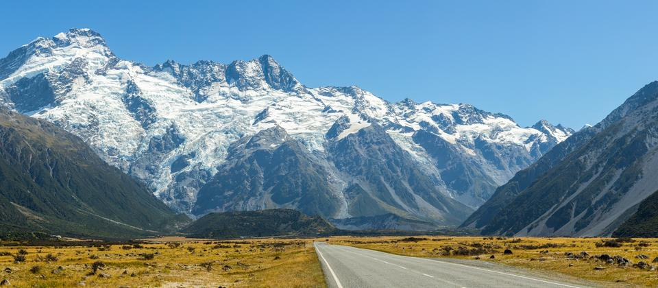 Road leading to Mount Cook, New Zealand