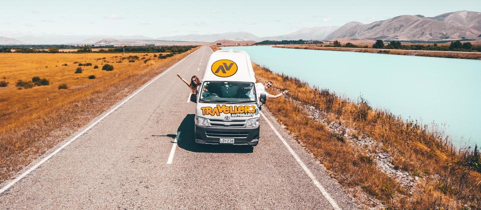 Travellers Autorbarn on the open road in New Zealand.