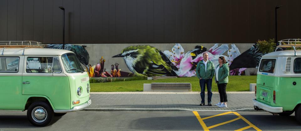Street Art with local flora and forna including Tui, Bumble Bees and NZ's smallest bird the Riffleman.