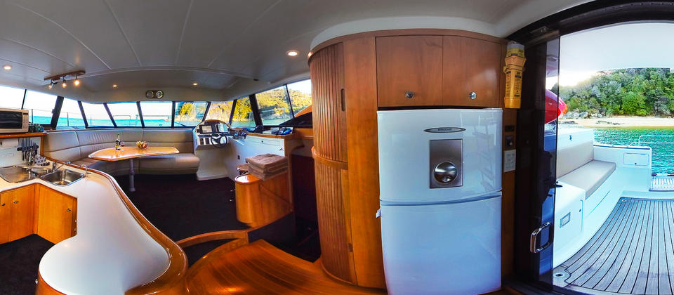 Interior of our catamaran Torea