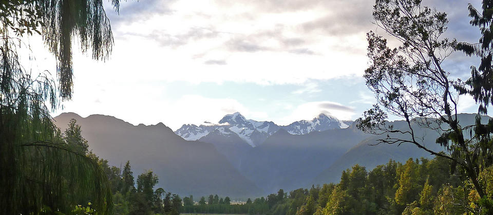 Views of the Southern Alps from Lake Matheson