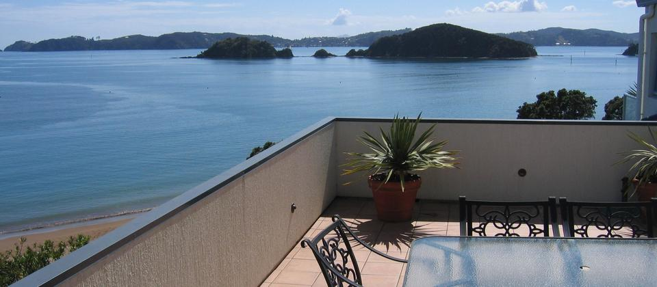 Panaoramic views of The Bay of Islands from an apartment balcony. Wish I was here! Blue Pacific Apartments, Paihia.