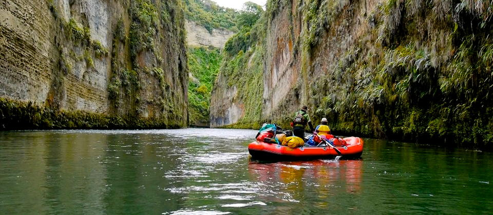 A gear raft on a multi-day trip on the Rangitikei River