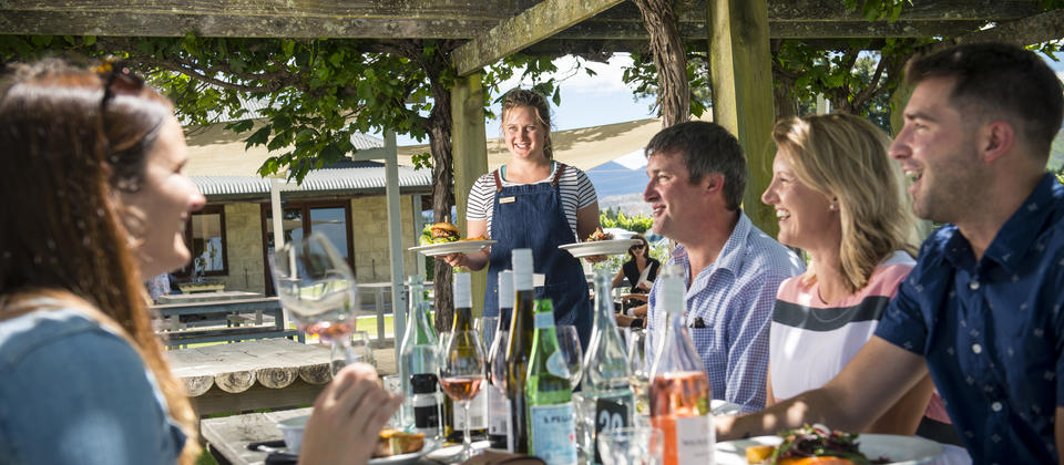Outdoor dining at Wairau River Wines