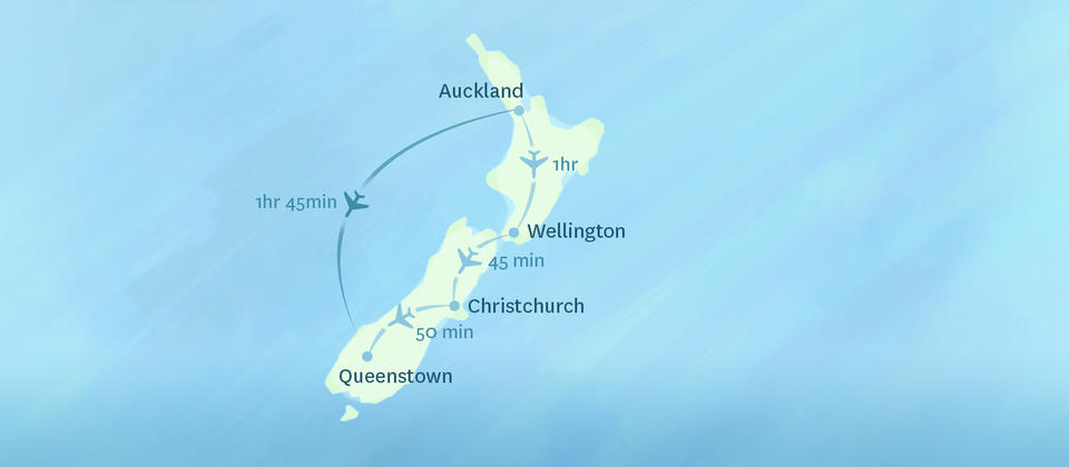 Domestic flights within New Zealand are all under 2 hours, making them a quick way to see the various parts of the country.