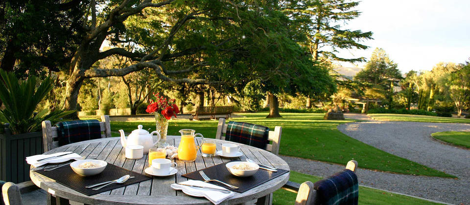 Take breakfast while overlooking the lovely garden