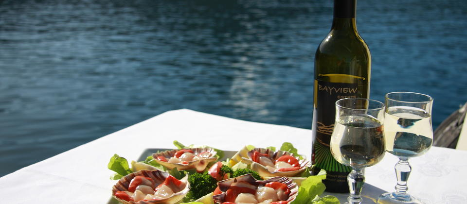 Scallops & Wine in the Marlborough Sounds