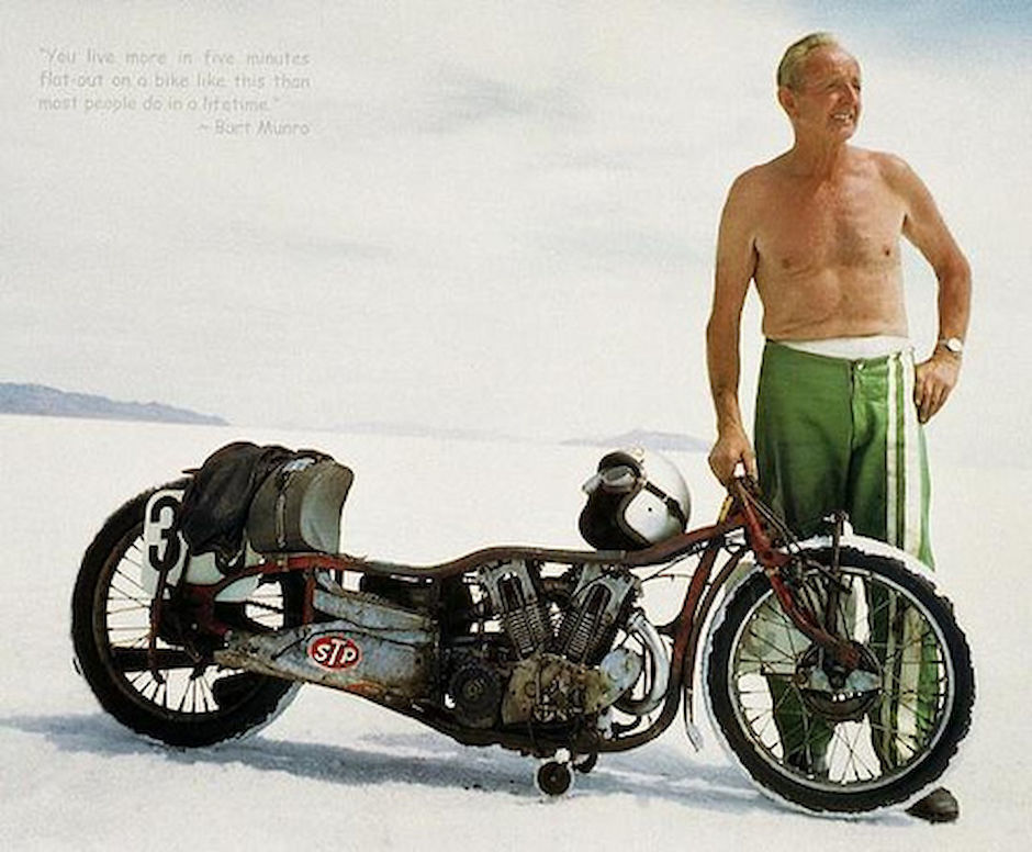 Burt Munro with his Indian Scout