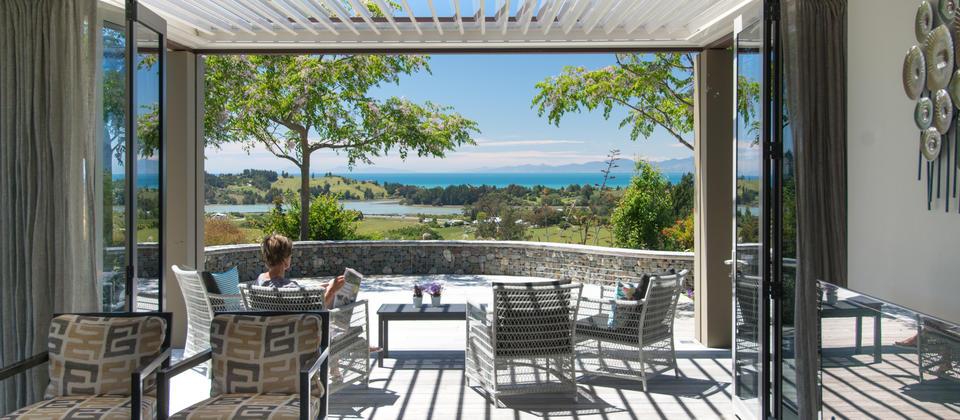 North facing deck off the family room with views over Tasman Bay