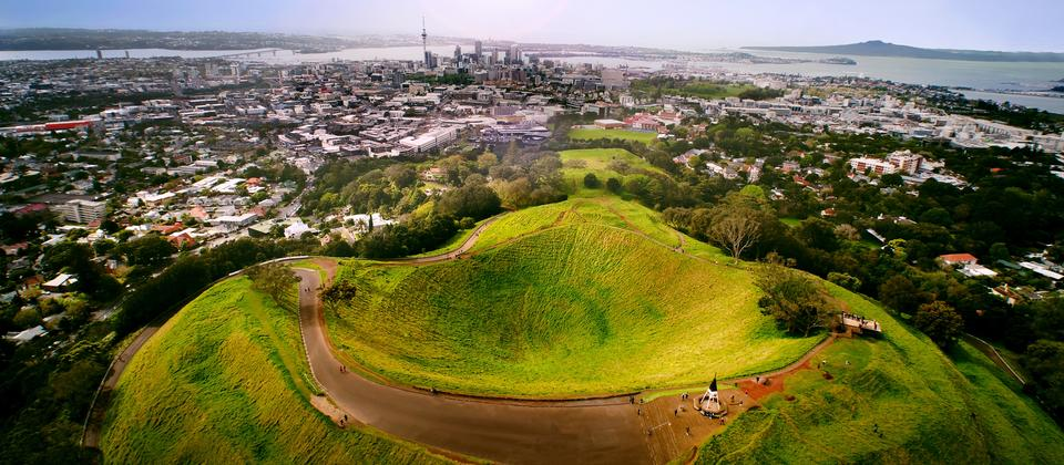 Mt Eden and Auckland from above wiht Tamaki Hikoi