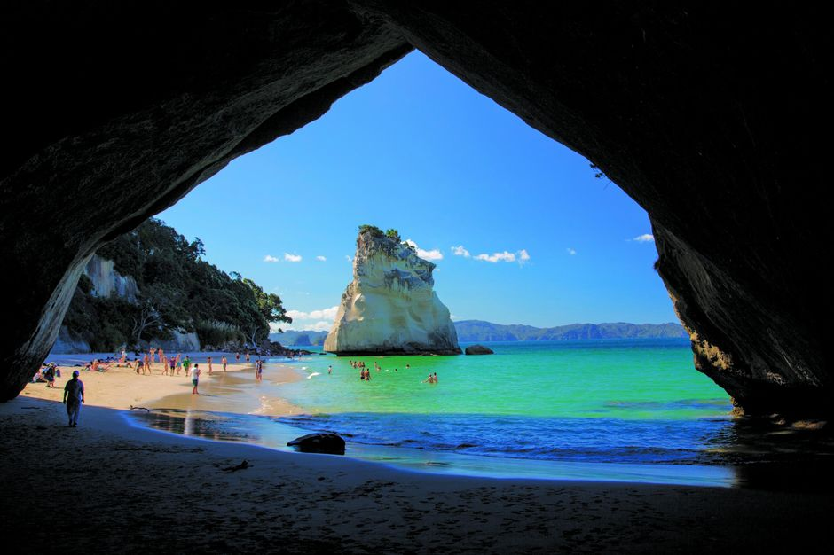 The stunning Cathedral Cove, Coromandel Peninsula, New Zealand.