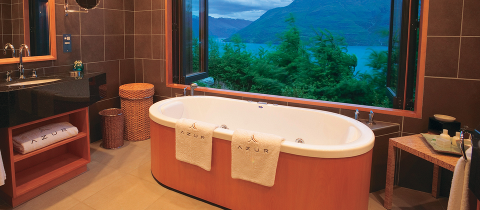 Fill the bath, lie back and soak up the view at the Azur luxury retreat in Queenstown.