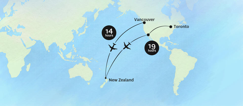 Getting to New Zealand from Canada