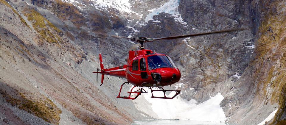 Precision Helicopters Hokitika in front of Wilkinson Glacier.