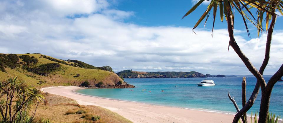 One of many picturesque beaches in the Bay of Islands
