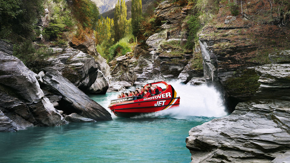 Experience a thrilling ride along the Shotover River in Queenstown.