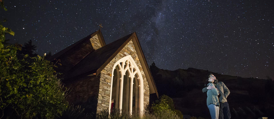Tthe chapel at Stoneridge Estate at Lake Hayes is magnificent on a clear night