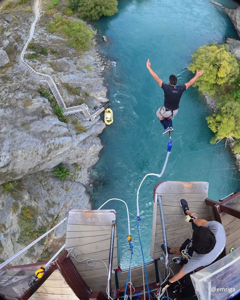 Taking the plunge at the original bungy in Queenstown - the historic Kawarau Bridge.