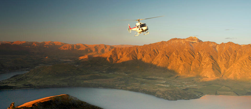 Soar in a helicopter high above Lake Wakatipu