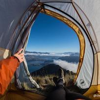 Stunning view from the tent on Roys Peak near Queenstown.