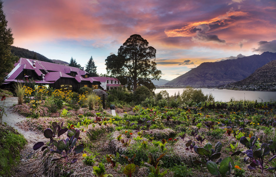Sherwood in Queenstown has magnificent views of Lake Wakatipu and their garden fuels the delicious onsite restaurant and bar.