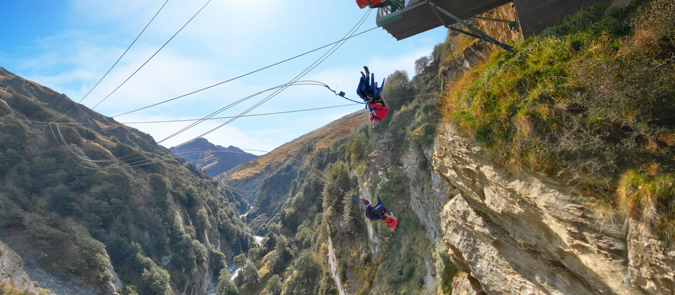 Canyon swing in the Shotover Canyon.
