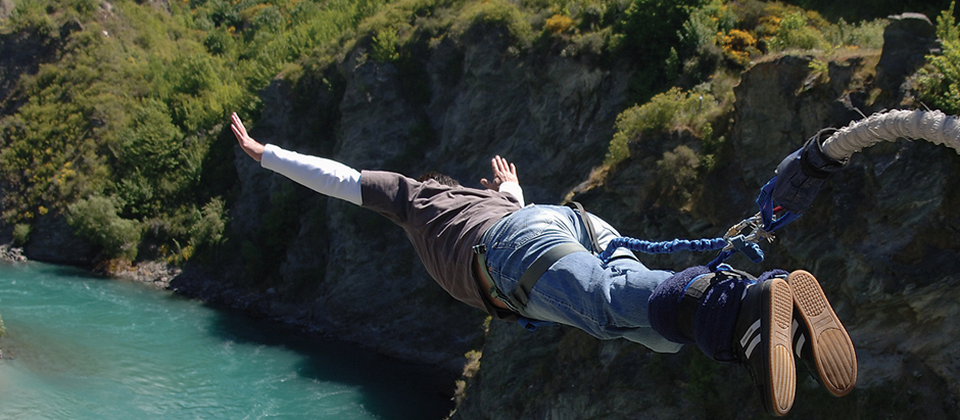 Swan dive from the Kawarau Bridge, home of bungy in New Zealand.