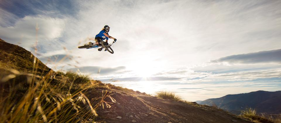 Riding sky high on the Rude Rock Track.