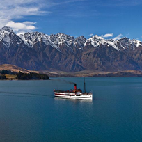 The TSS Earnslaw Steamship offers boat cruises on Lake Wakatipu, Queenstown