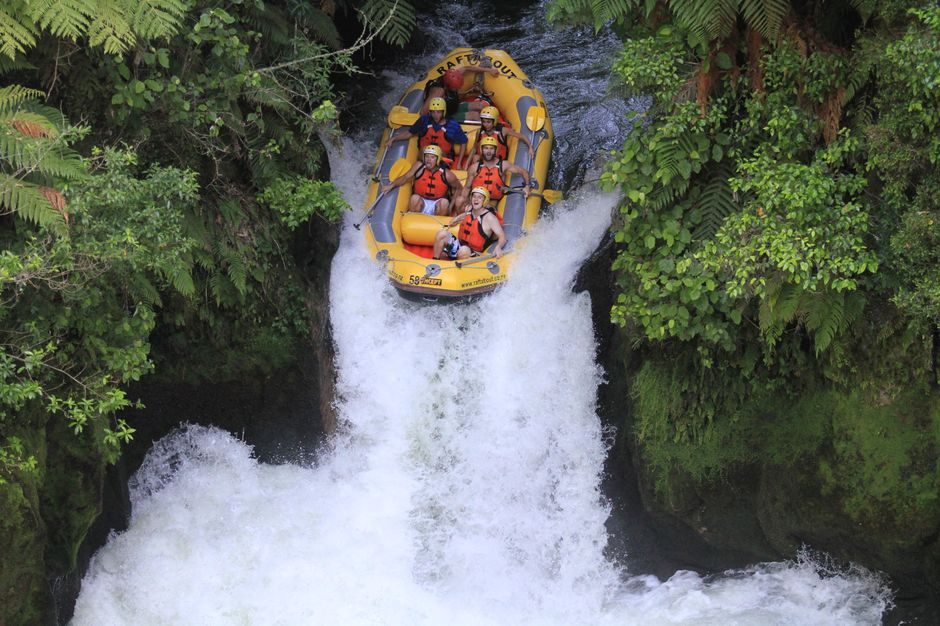Tackling Tutea Falls on the Kaituna River in Rotorua, New Zealand