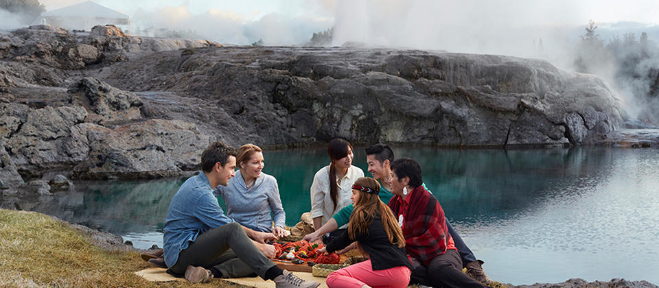 Enjoy a gourmet lunch cooked using geothermal steam at Te Puia.