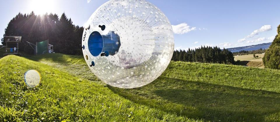 An Ogo, in case you didn't know, is a cushioned sphere suspended within a large outer sphere - it's an awesome way to roll down a hill