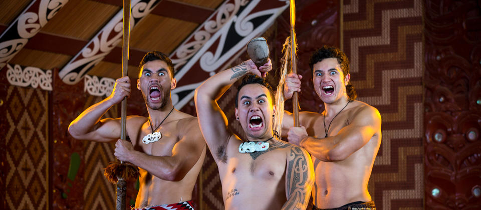 Performers of haka show energy and ferocity through facial expressions (pūkana) and strong, swift movements