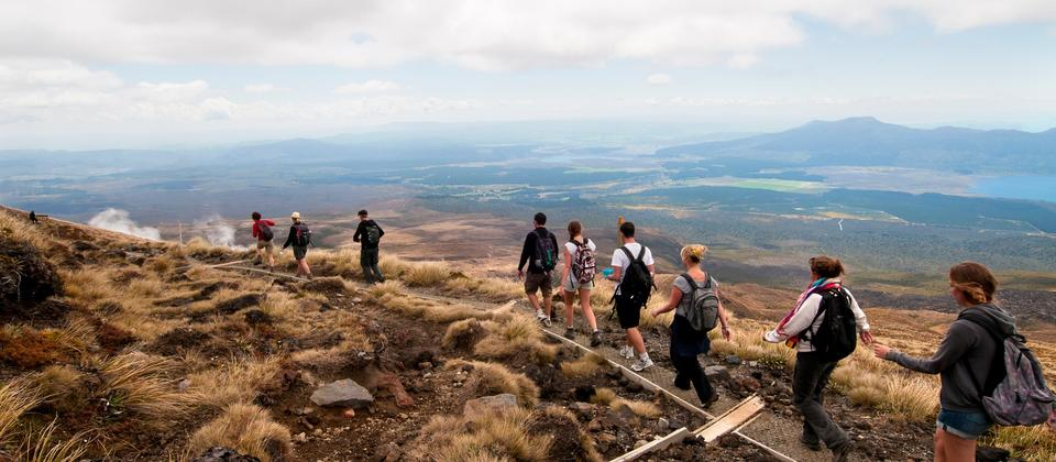 Just under 20 kilometres long, the trail leads you through across a spectacular volcanic landscape between Mt Ngauruhoe and Mt Tongariro