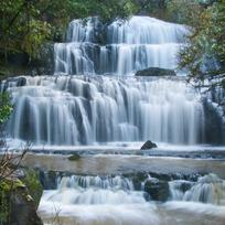 Marvel at the three-tiered waterfall in the Catlins