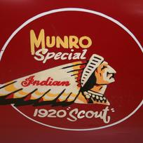 A view of the side of Burt Munro's motorcycle