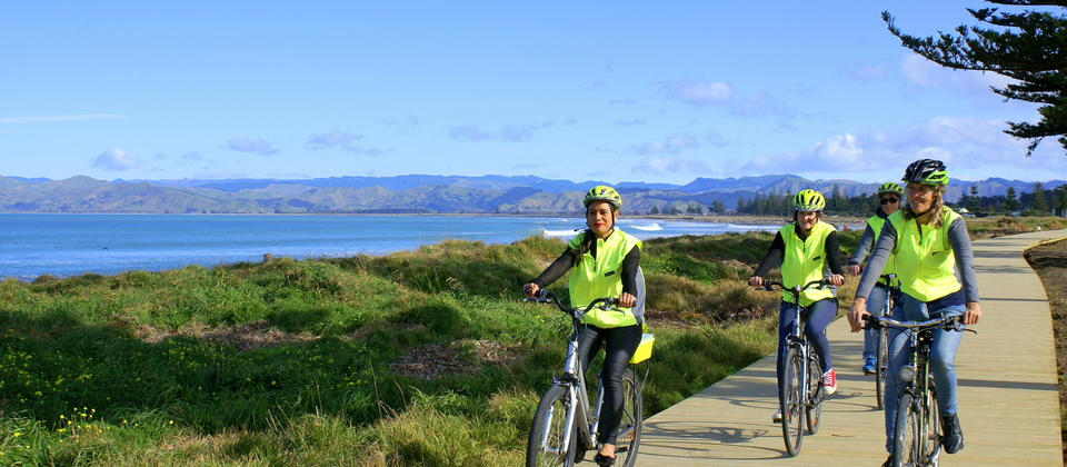 Cycling on Oneroa Walkway