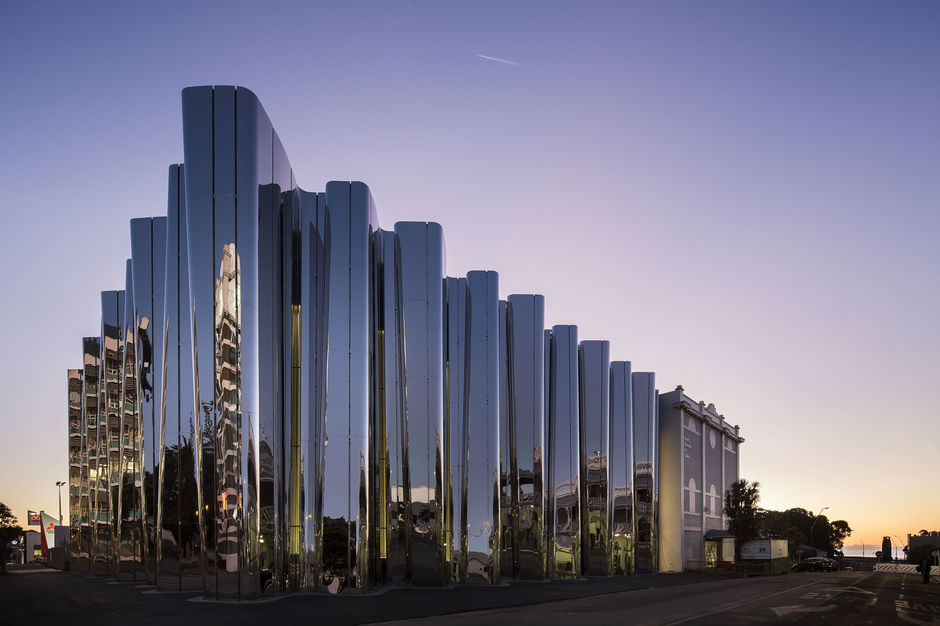 Len Lye Centre, New Plymouth - the external stainless steel façade echoes the artist's use of the metal in many of his kinetic sculptures.