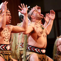 A Haka is fiercely displayed at a Maori performing arts competition in Taranaki.