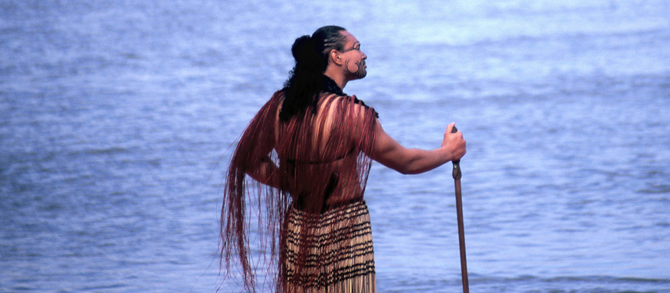 A Māori warrior surveys the oceans near Ngāmotu (New Plymouth). Māori oral history tells of vast ocean voyagers across the Pacific.