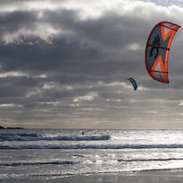 Kite surfers on Back Beach