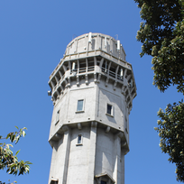 The famous water tower, built as a fire-fighting reservoir.