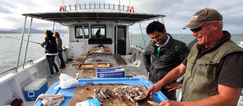 Preparing for fishing with Coromandel Fishing Charters
