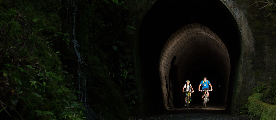 You will need to pass through more than 600 meters of tunnels on the Rimutaka Cycle Trail.