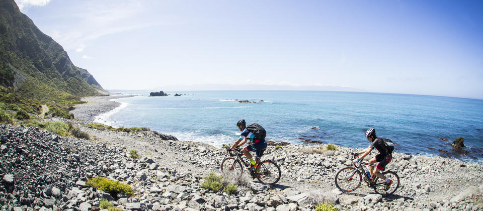 The rugged South Coast is a section of Rimutaka Cycle Trail.