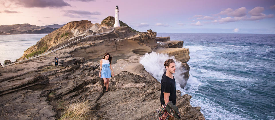Exploring around the lighthouse at Castlepoint in the Wairarapa region near Wellington will reveal fossils that are around 2.4 million years old.