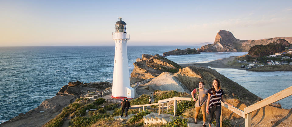 An hour's drive from Martinborough, Castlepoint Beach comes complete with a lighthouse, easy walks and lagoon swimming.